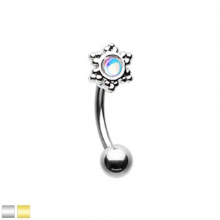 Coloured curved barbell with snowflake and rainbow stone