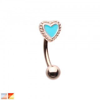 Coloured curved barbell with coloured heart top