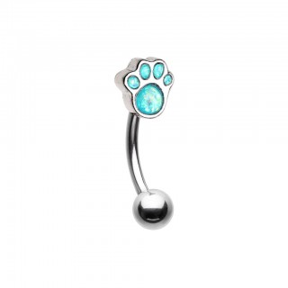 Silver curved barbell with aqua opal dog paw