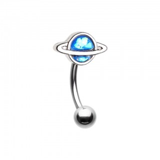 Silver curved barbell with blue opal planet