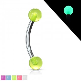 Gebogen barbells met glow in the dark balletjes