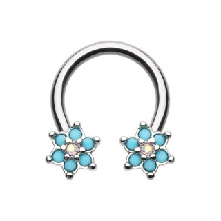 Coloured circular barbell with turquoise coloured flowers