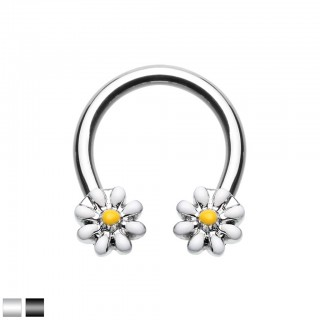 Coloured circular barbell with white daisy flowers
