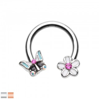 Coloured circular barbell with crystallised flower and butterfly