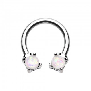 Coloured circular barbell with prong set glitter opals