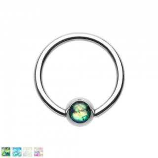 Silver ball closure ring with coloured opal stone ball
