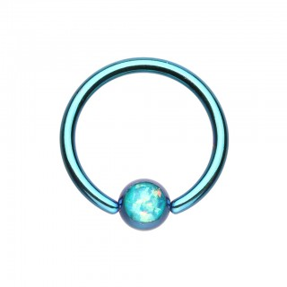 Coloured ball closure ring with coloured opal stone ball