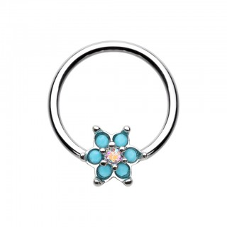 Coloured ball closure ring with flower of turquoise stones