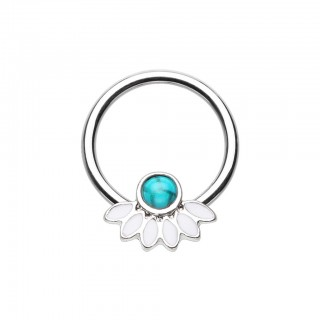 Coloured ball closure ring with turquoise stone and feathers