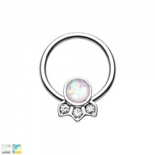 Coloured ball closure ring with opal stone and three crystals
