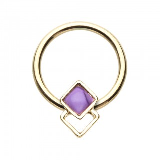 Coloured ball closure ring with two squares and purple stone