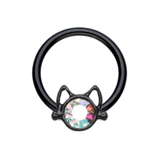 Coloured ball closure ring with coloured crystals in cat