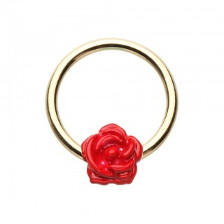 Coloured ball closure ring with coloured rose