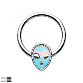 Coloured ball closure ring with moonstone alien head