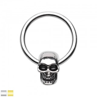 Coloured ball closure ring with skull head