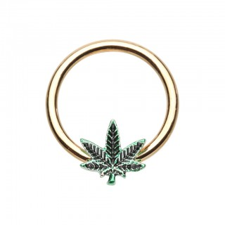 Gold ball closure ring with green pot leaf