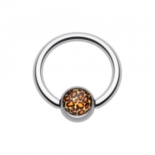 Ball closure ring with leopard print on ball