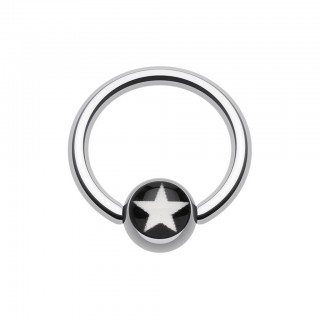 Ball closure ring with white star in black inlay