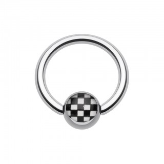 Ball closure ring with checkered inlay on ball