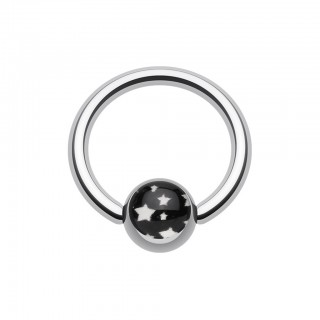 Ball closure ring with white stars in dark sky