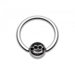Ball closure ring with brass knuckle symbol on ball