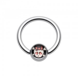 Ball closure ring with cute skeleton on ball