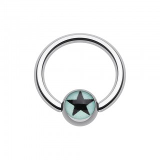 Ball closure ring with black star on coloured ball