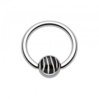 Ball closure ring with coloured zebra striped ball