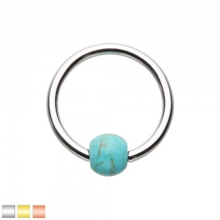 Coloured ball closure ring with turquoise stone bead