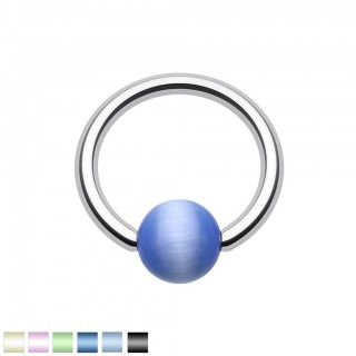 Ball closure ring with coloured cat eye stone bead