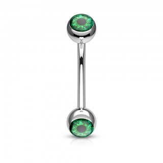 Curved barbell with coloured eyeball balls