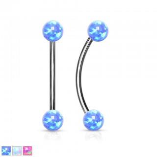 Opal ball surgical steel interchangeable curved barbell