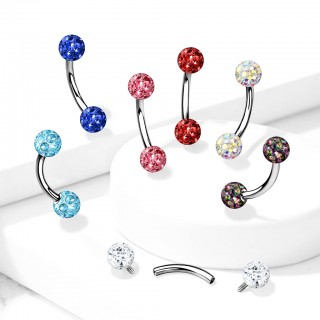 Internally Threaded Curved Barbells with epoxy covered gemmed balls