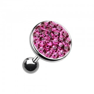 Ear piercing with big coloured crystal top - Fuchsia - 10 mm