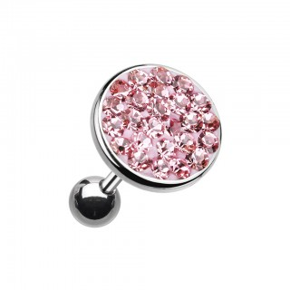Ear piercing with big coloured crystal top - Pink - 6 mm