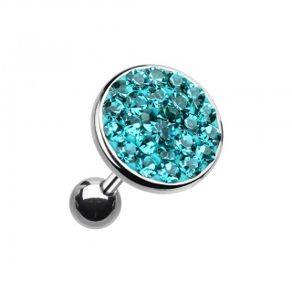 Ear piercing with big coloured crystal top - Cyan - 8 mm