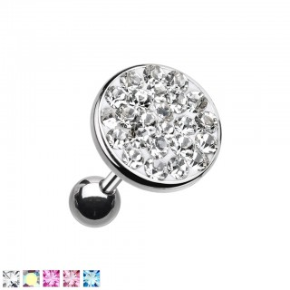 Ear piercing with big coloured crystal top