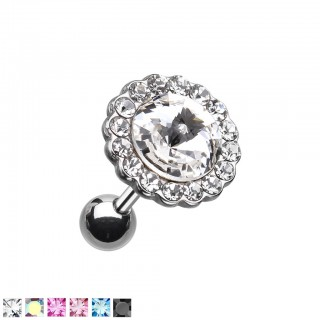 Ear piercing with small and big coloured crystals