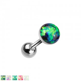 Silver ear cartilage piercing with coloured opal stone