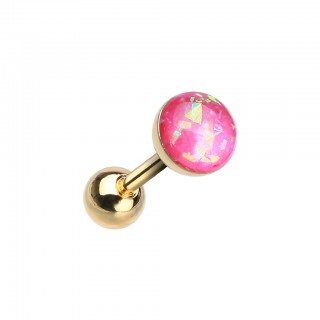 Gold ear cartilage piercing with coloured opal stone
