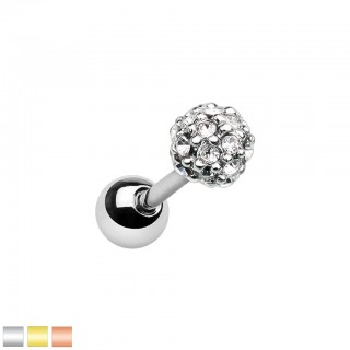Coloured ear piercing with crystal paved ferido ball
