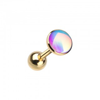 Coloured tragus piercing with shiny moonstone top
