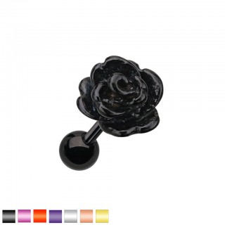 Coloured cartilage ear piercing with rose shaped top