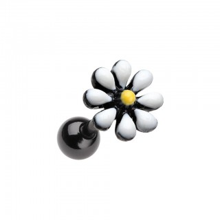 Black cartilage piercing with daisy flower top