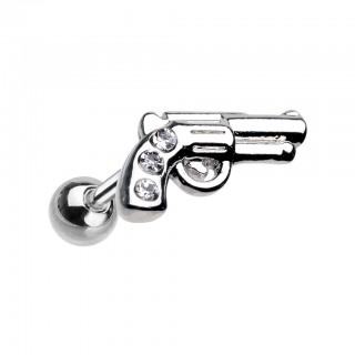 Coloured pistol shaped cartilage piercing with clear crystals