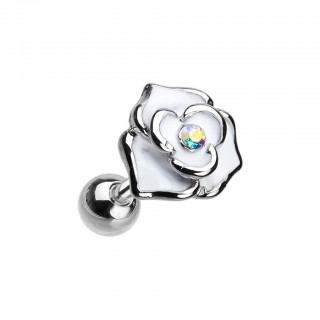 Coloured flower piercing with aurora borealis crystal