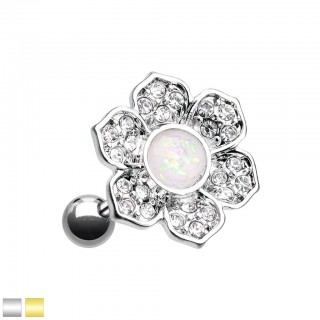 Flower piercing with coloured crystals and white opal