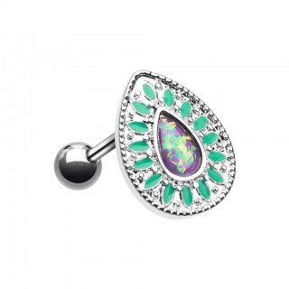 Coloured tear drop shaped piercing with purple opal