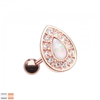 Coloured tear drop shaped piercing with white opal