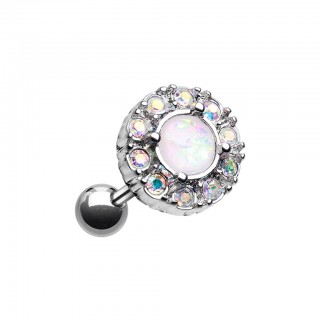 Tragus piercing with round crystal top and white opal